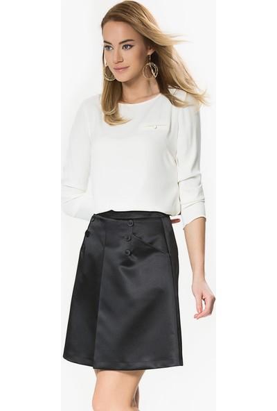 Roman Kadın Önü Çapraz Cep ve Düğme Detaylı Siyah Mini Etek
