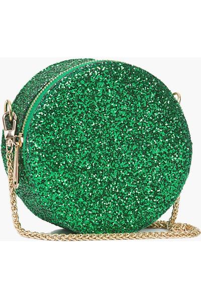 Roman Gold Zincir Detaylı Yeşil Parlak Clutch Çantası