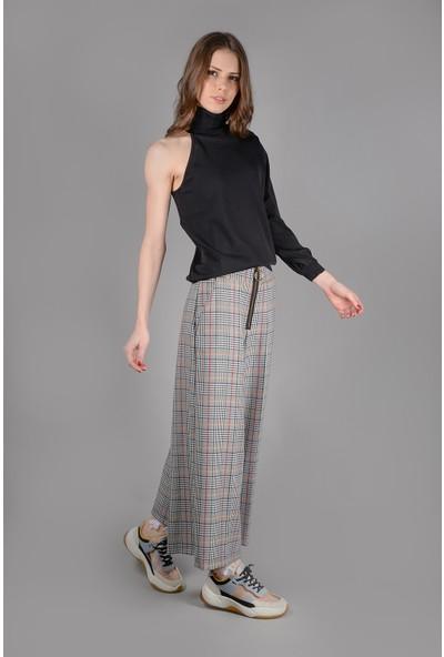 Graffin Önde Kontrast Şeritli Fermuarlı Geniş Paçalı Crop Pantolon
