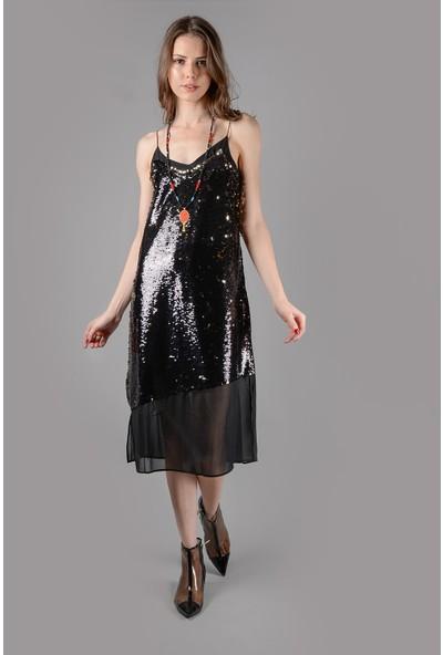 Graffin Askılı Yanda Yırtmaçlı Payet Elbise