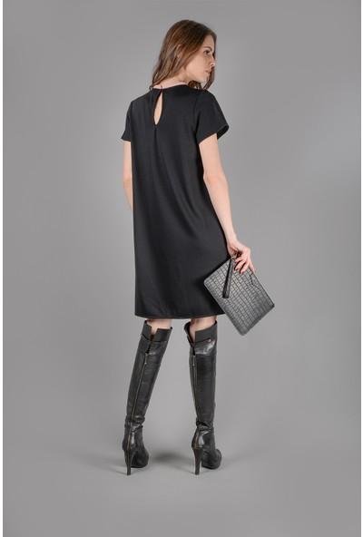 Graffin Yaka Pembe Biye Şeritli Kısa Kollu Elbise