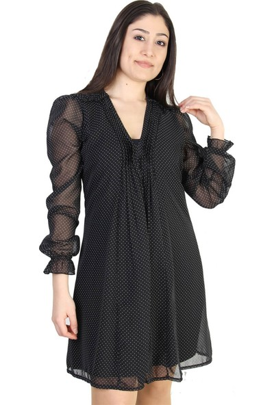 Paket Puantiyeli Salaş Şifon Kadın Elbise