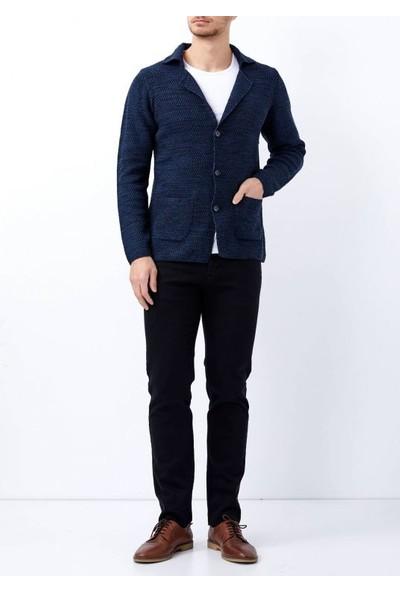 Adze Lacivert-İndigo Erkek Düğmeli Örme Ceket