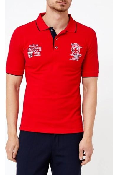 Adze Bayrak Kırmızı Erkek Slim Fit Polo Yaka T-Shirt