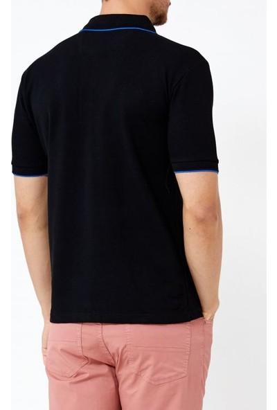 Adze Siyah Erkek Nakışlı Polo Yaka T-Shirt