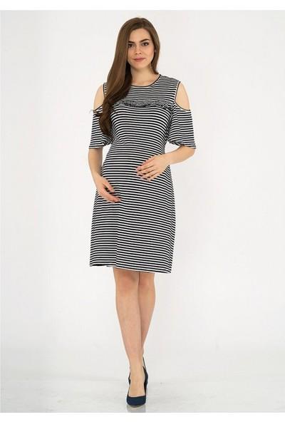 Işşıl Çizgili Omuz Detay Mini Elbise