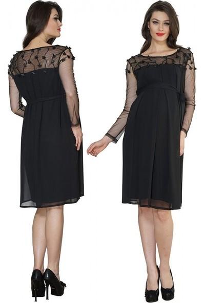 Işşıl Hamile Giyim Boncuk İşlemeli Tül Kombin Abiye Elbise