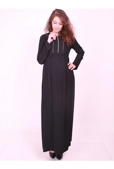 Işşıl Hamile Giyim Fermuar Cepli Tesettür Uzun Elbise