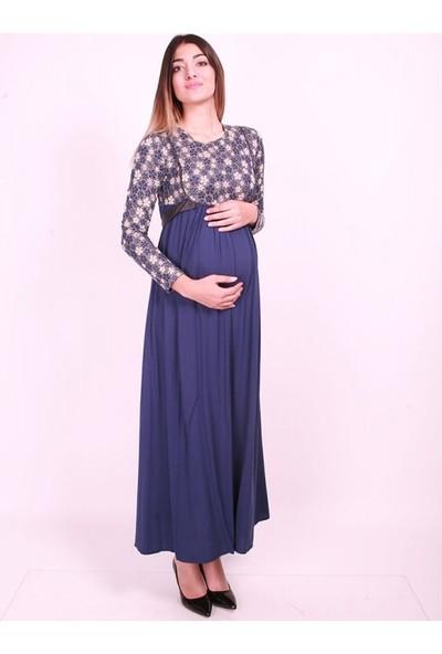 Işşıl Hamile Giyim Papatya Çiçekli Tesettür Elbise