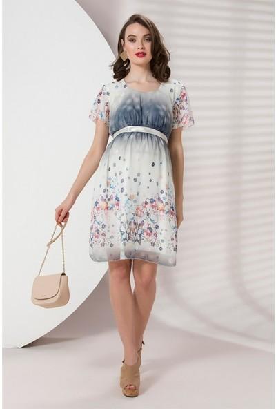 Işşıl Hamile Giyim Saten Kuşak Çiçek Mini Elbise