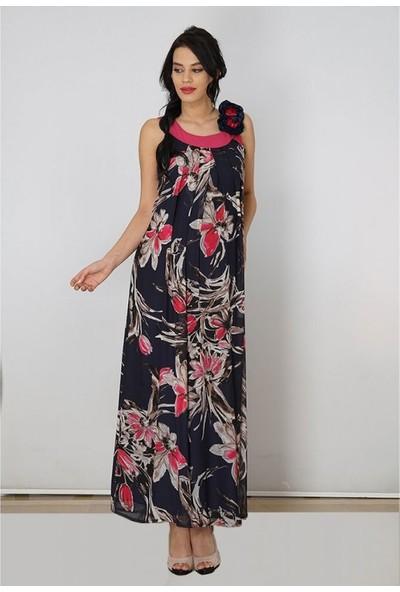 Işşıl Hamile Gül Yaka Sifon Elbise