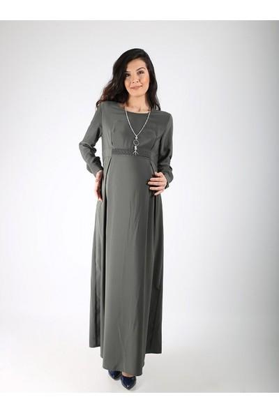 Işşıl Hamile Kolyeli Örgü Krep Elbise