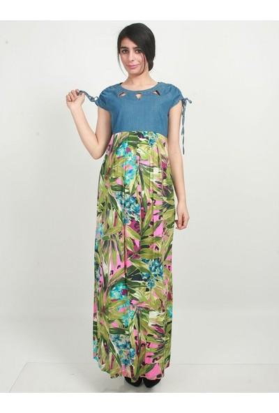 Işşıl Hamile Kot Kombin Desenli Elbise