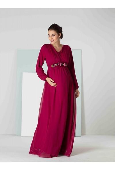 Işşıl Hamile Şakayık Kemer Uzun Kol Şifon Elbise