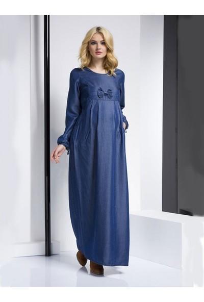 Işşıl Tencell Fiyonklu Hamile Uzun Elbise