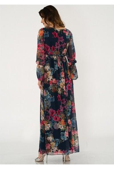 Işşıl Yasemin Çiçek Maksi Elbise