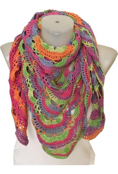 Pafuli El Örgüsü Renkli Batik Şal