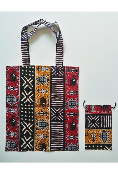 Hepi Kutu Senegal Bez Çanta-Kese Seti Kırmızı