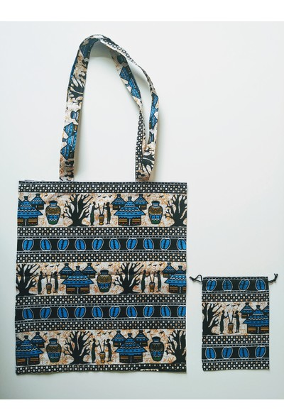 Hepi Kutu Senegal Bez Çanta-Kese Seti Mavi