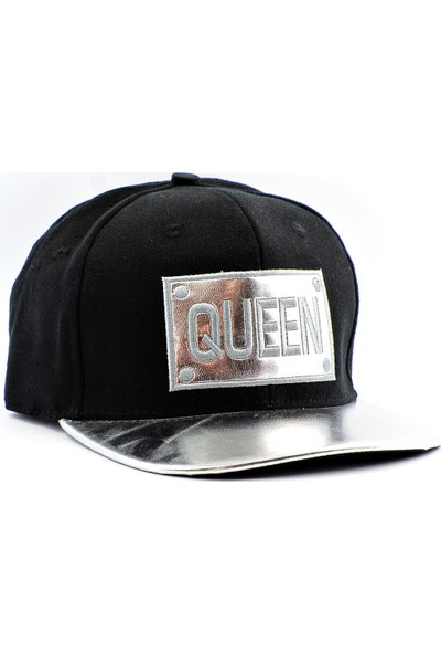 Tek Deri Siperli Queen Kraliçe Cap Şapka Hiphop Siyah Renk