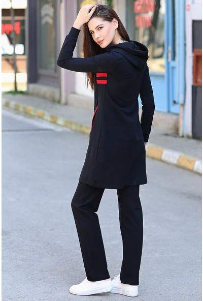 Tommy Life Şeritli Ön Garnili Lacivert-Kırmızı Eşofman Kadın Tunik Takım