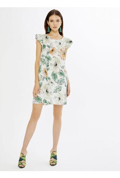 Xint Yuvarlak Yaka Kolları Fırfırlı Desenli Elbise