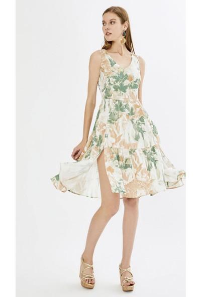 Xint V Yaka Desenli Yırtmaçlı Elbise