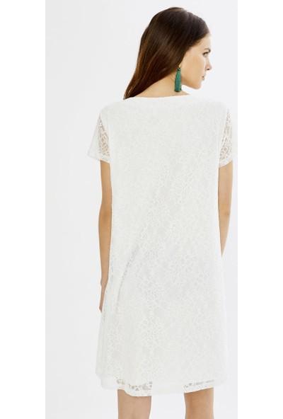 Xint V Yaka Üstü Dantelli İçi Astarlı Elbise