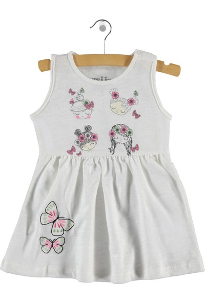 Kujju Kız Bebek Elbise 6-18 Ay Ekru