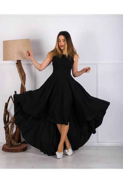 Barevsu Scuba Kumaş Uzun Kadın Abiye Elbise 05