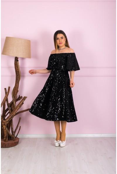 Barevsu Volanlı Payet Kadın Abiye Elbise 597Payet