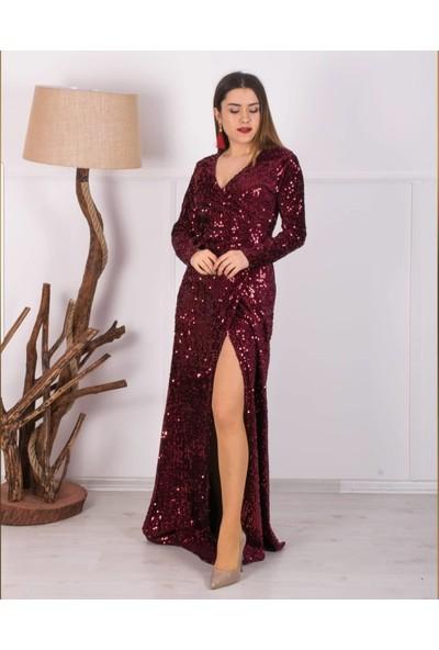 Barevsu Payet Tasarım Uzun Kadın Abiye Elbise 646
