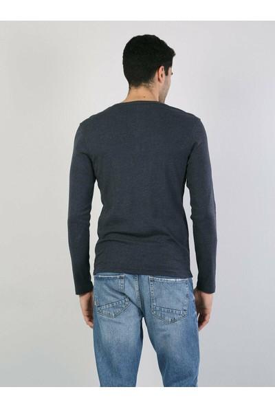 Colin's Mavi Erkek T-Shirt Uzun Kol