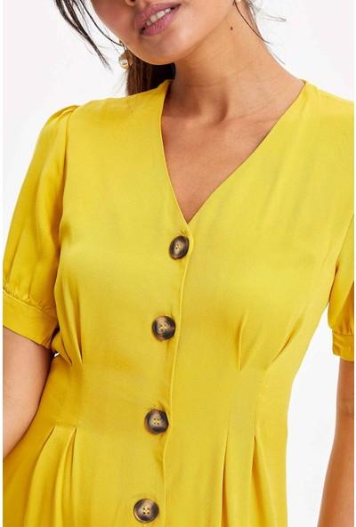 Defacto Kadın V Yaka Düğmeli Mini Elbise