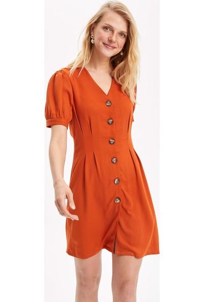 Defacto Kadın V Yakalı Düğmeli Elbise