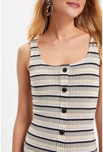 Defacto Kadın Düğmeli Çizgili Elbise