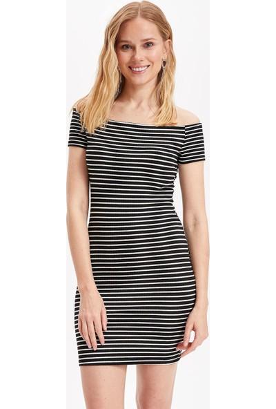 Defacto Kadın Omuz Dekolteli Çizgili Slim Fit Elbise