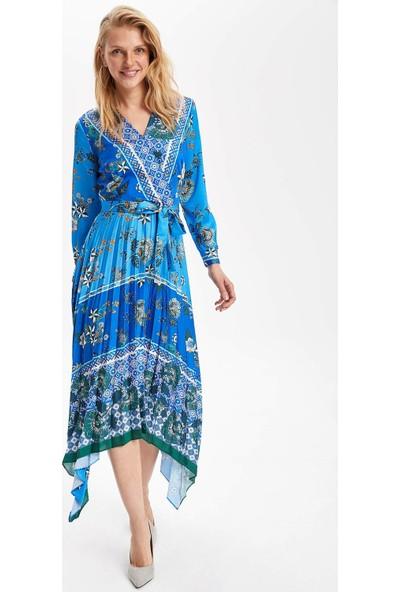 Defacto Kadın Desenli Asmetrik Kesim Elbise