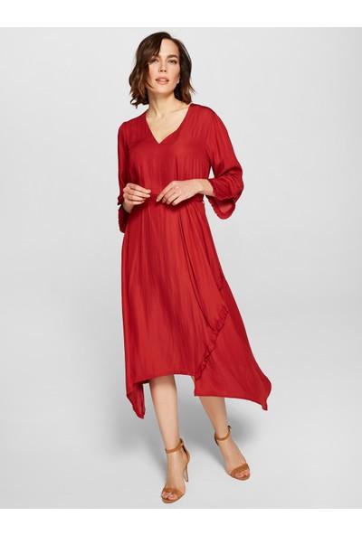 Faik Sönmez Fırfır Detaylı Elbise 38292