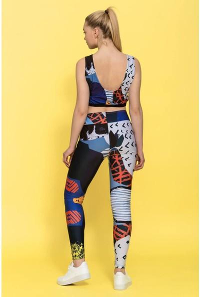 Haşema Kadın Desenli Fitness Takımı H-2340KAMELYA