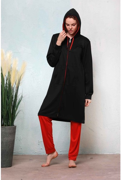 Haşema Kadın Siyah Tesettür Fit Eşofman Takımı N-7011