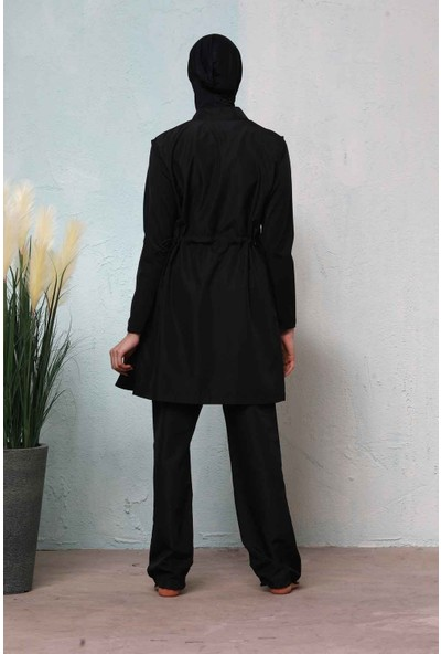 Haşema Kadın Fuşya Çizgili Siyah Tesettür Nehar Mayo N-8005ALUSRA