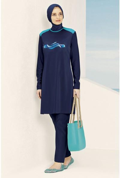 Haşema Kadın Mavi Desenli Lacivert Mayo