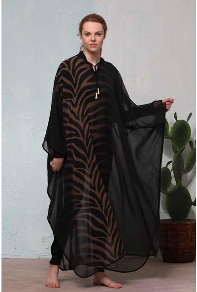 Haşema Kadın Kahverengi Desenli Pareo H-2528AKDENİZ