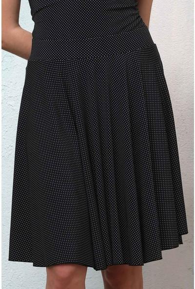Haşema Kadın Siyah Puantiyeli Diz Boy Etek H-2500