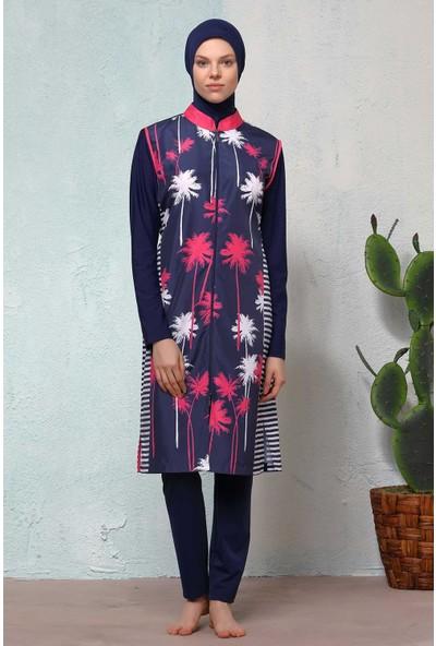Haşema Kadın Palmiye Desenli Lacivert Tesettür Mayo H-2509NİLGÜN