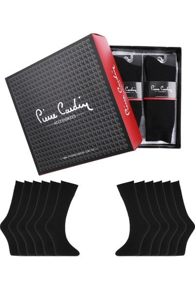 Pierre Cardin Kışlık Termal Yünlü Havlu Erkek Çorap 12'li Paket Siyah 575