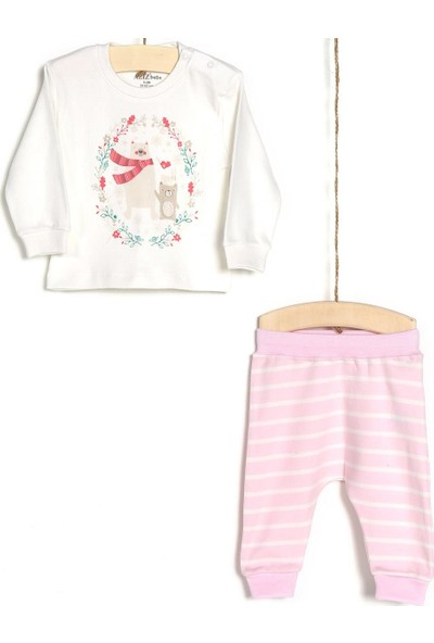 Aziz Bebe Kız Bebek Body Pantolon 2'li Takım 2905