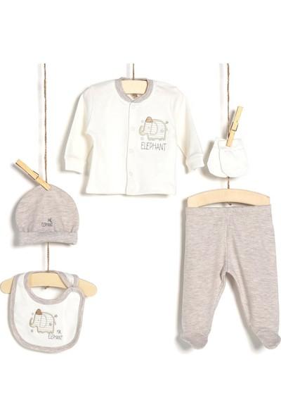 Aziz Bebe Erkek Bebek Hastane Çıkışı 5'li Zıbın Seti 5225