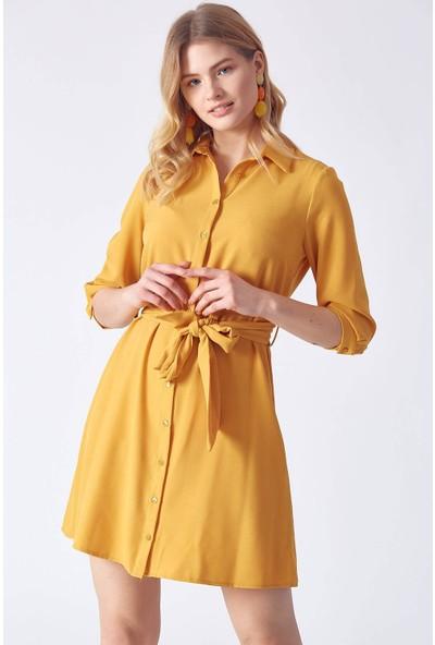 Robin M31527 Kadın 9Y Elbise Hardal